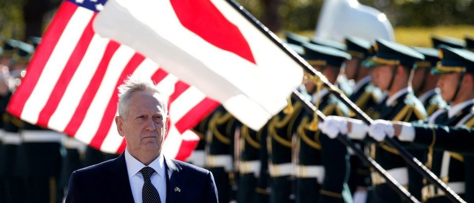 U.S. Defense Secretary Mattis reviews the honour guard before a meeting with Japan's Defense Minister Inada at the Defense Ministry in Tokyo