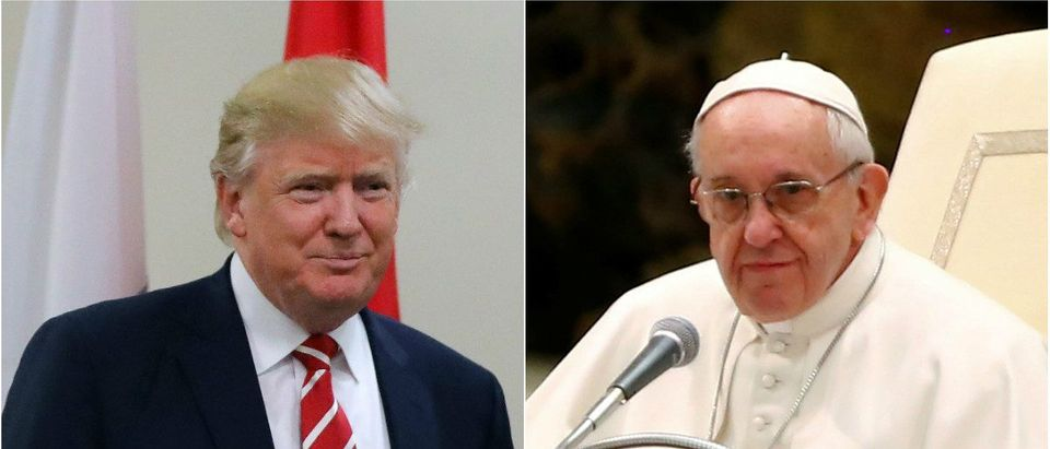 U.S. President Donald Trump in Tampa, Florida, U.S., February 6, 2017. REUTERS/Carlos Barria. Pope Francis in Vatican City February 8, 2017. REUTERS/Tony Gentile