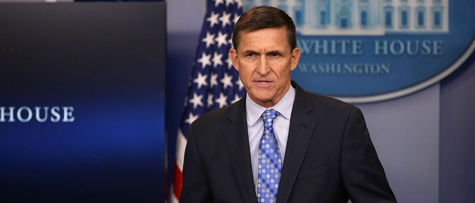 National security adviser General Michael Flynn delivers a statement daily briefing at the White House in Washington U.S.