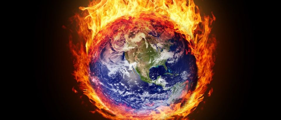 Burning globe earth (west hemisphere) - version with glowing (elements furnished by NASA)
