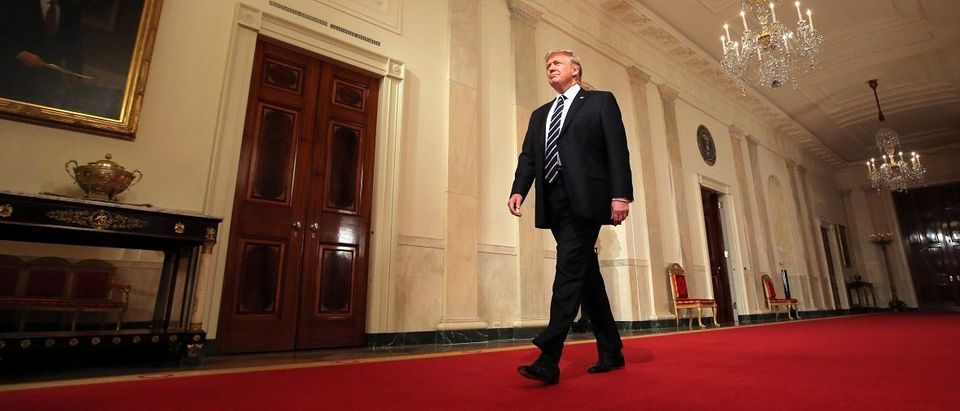 U.S. President Donald Trump arrives to announce his nomination for the empty associate justice seat of the U.S. Supreme Court at the White House in Washington