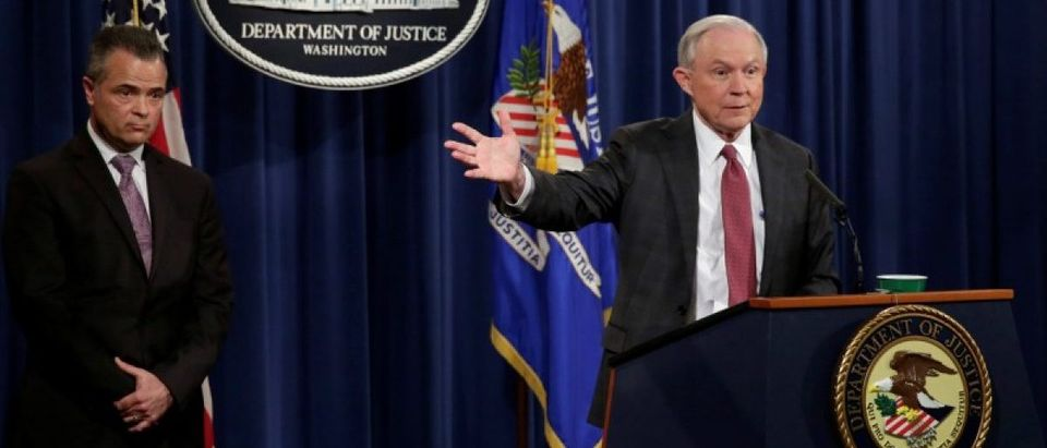 U.S. Attorney General Jeff Sessions speaks at a news conference in Washington