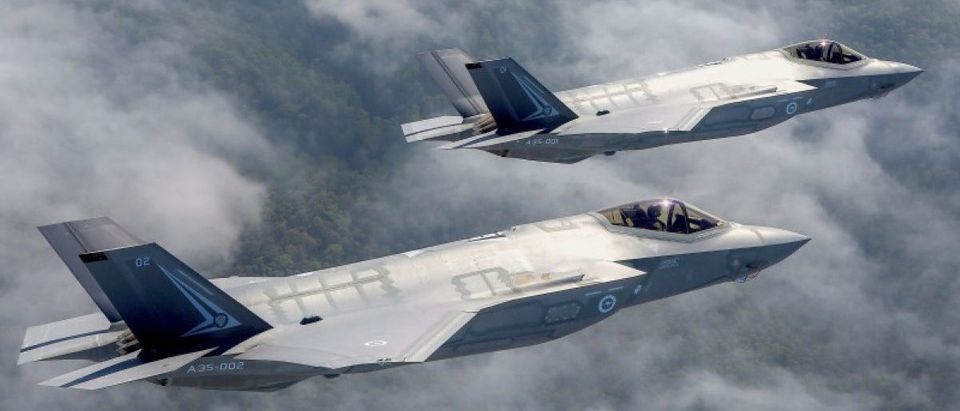 Two Lockheed Martin Corp F-35 stealth fighter jets fly to the Avalon Airshow in Victoria
