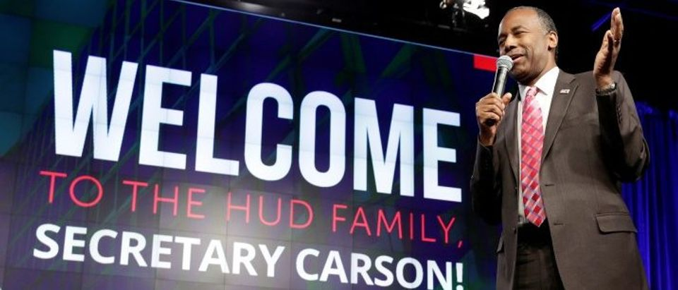 Secretary of Housing and Urban Development Ben Carson speaks to employees of the agency in Washington