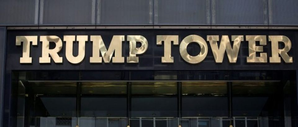 FILE PHOTO: The Trump Tower logo is pictured in New York