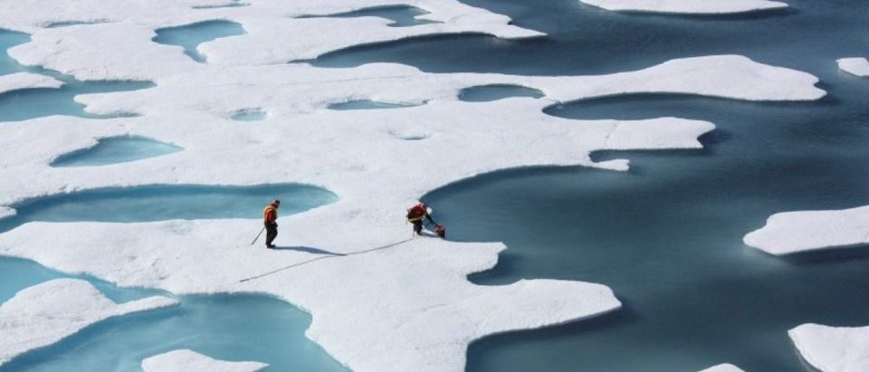 FILE PHOTO: The crew of the U.S. Coast Guard Cutter Healy, in the midst of their ICESCAPE mission, retrieves supplies dropped by parachute in the Arctic Ocean