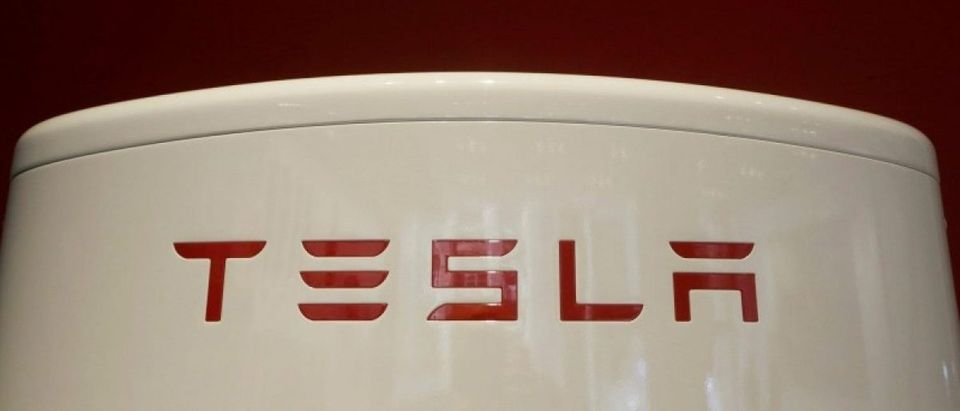 A Tesla supercharger is pictured at the Tesla store in Sydney