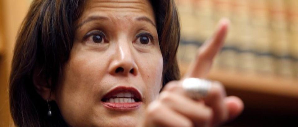 FILE PHOTO: Appeals court justice Tani Cantil-Sakauye gestures during news conference in San Francisco