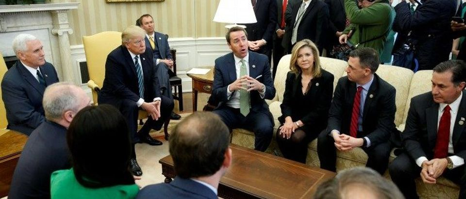 Trump, Pence and Mulvaney meet with Walker and members of the Republican Study Committee at the White House in Washington