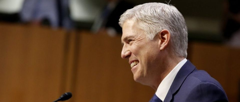 Supreme Court nominee judge Gorsuch smiles at his Senate Judiciary Committee confirmation hearing in Washington