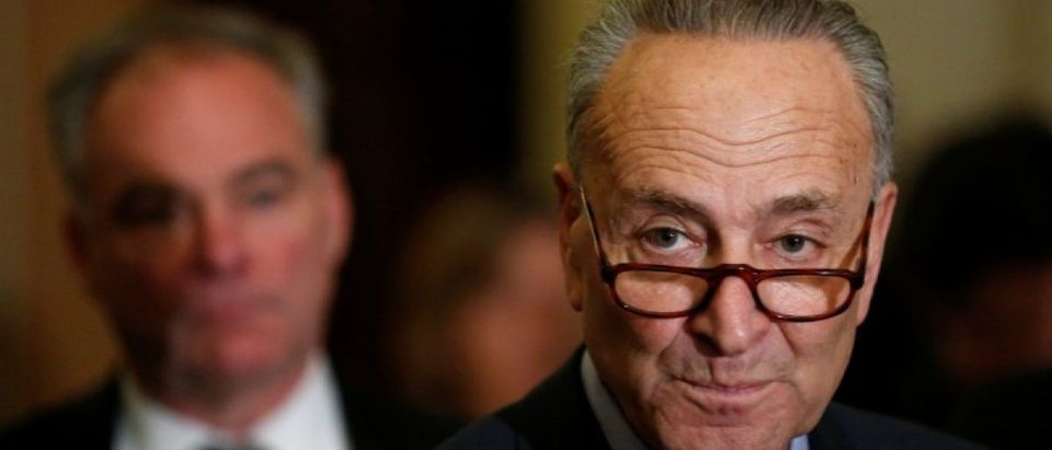 Schumer speaks to reporters after the weekly Democratic caucus policy luncheon at the U.S. Capitol in Washington