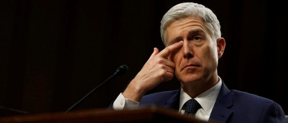 Gorsuch rubs his eye during the third day of his Senate Judiciary Committee confirmation hearing on Capitol Hill in Washington