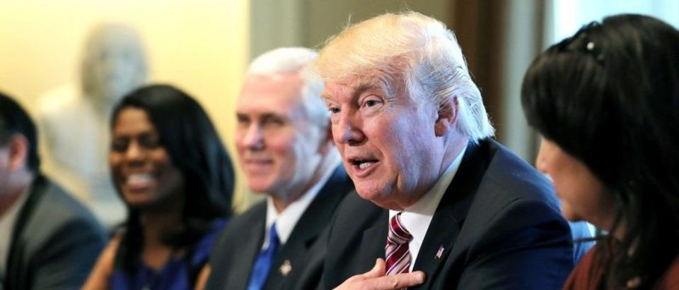 Trump attends a meeting with the Congressional Black Caucus Executive Committee at the White House in Washington