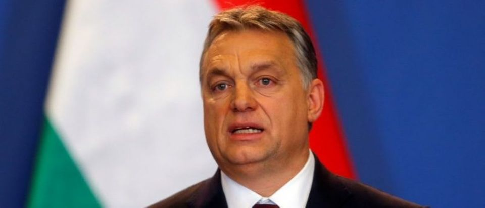 Hungarian Prime Minister Orban speaks during a news conference following the talks with Russian President Putin in Budapest