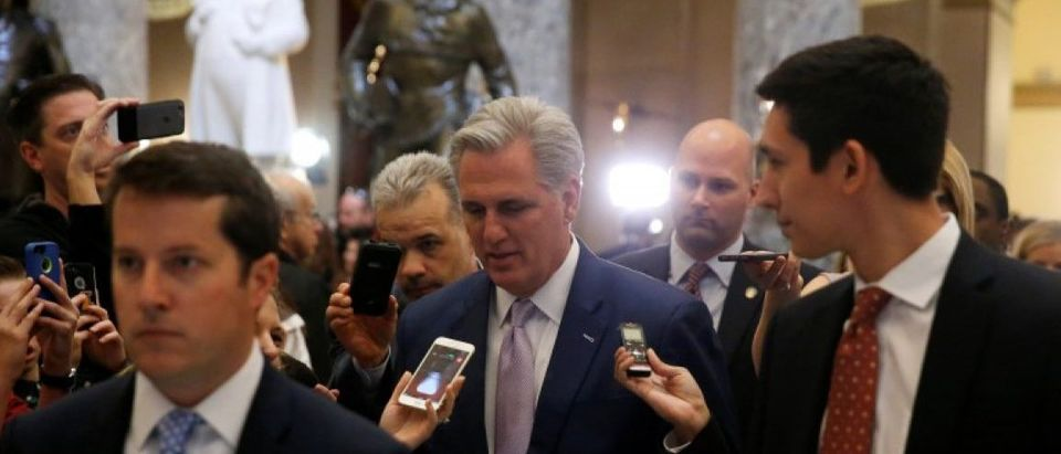 McCarthy is trailed by reporters after the House voted on a procedural measure to move ahead with health care legislation to repeal Obamacare at the U.S. Capitol in Washington