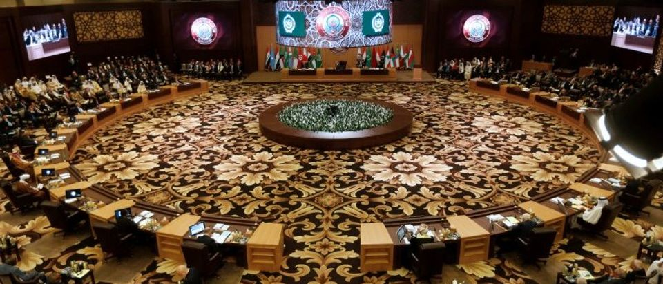 Arab leaders and head of delegations attend the 28th Ordinary Summit of the Arab League at the Dead Sea