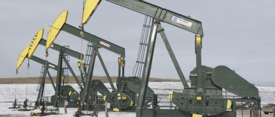 FILE PHOTO - Pumpjacks taken out of production temporarily stand idle at a Hess site while new wells are fracked near Williston