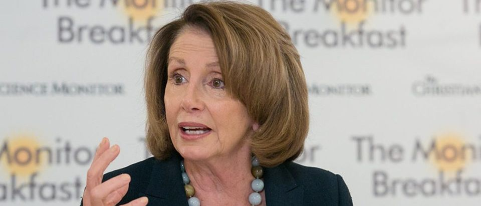 Pelosi speaks with reporters in Washington, DC