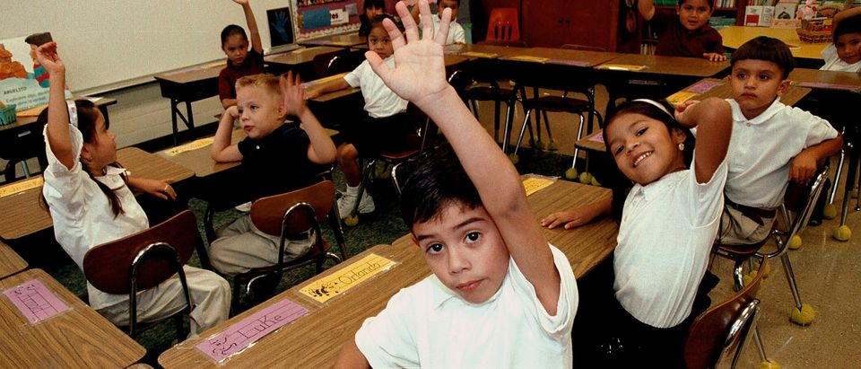 TYLER,TX - SEPTEMBER 11: Monolingual Hispanic students raise their hands to answer a question during a class taught in Spanish at Birdwell Elementary School September 11, 2003 in Tyler, Texas. The first grade students spend half their school day learning reading, writing, and arithmetic in Spanish and the other half learning them in English. Birdwell, a school of 600 students, 60 percent of them Hispanic with a significant portion of them Spanish speakers, requires a dual-language curriculum for it?s kindergarten and first graders. (Photo by Mario Villafuerte/Getty Images)