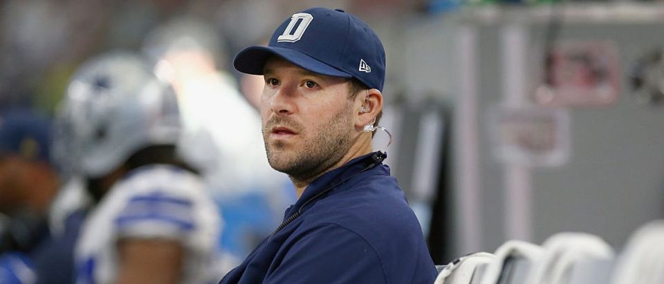 Tony Romo #9 of the Dallas Cowboys sits on the bench late in the fourth quarter as the Washington Redskins beat the Dallas Cowboys 34-23 at AT&T Stadium on January 3, 2016 in Arlington, Texas. (Photo by Tom Pennington/Getty Images)