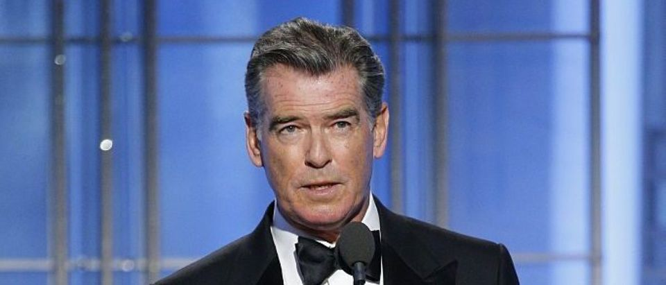 In this handout photo provided by NBCUniversal, presenter Pierce Brosnan onstage during the 74th Annual Golden Globe Awards at The Beverly Hilton Hotel on January 8, 2017 in Beverly Hills, California. (Photo by Paul Drinkwater/NBCUniversal via Getty Images)