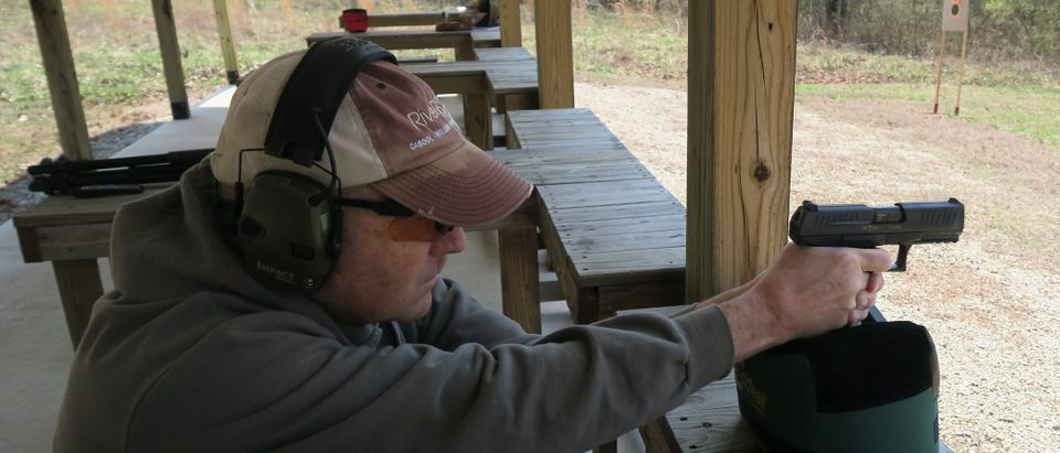 Jason testing ammo with the Walther 45, photo by Barbara Baird