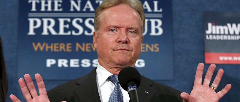 Former U.S. Senator Senator Jim Webb speaks during a news conference