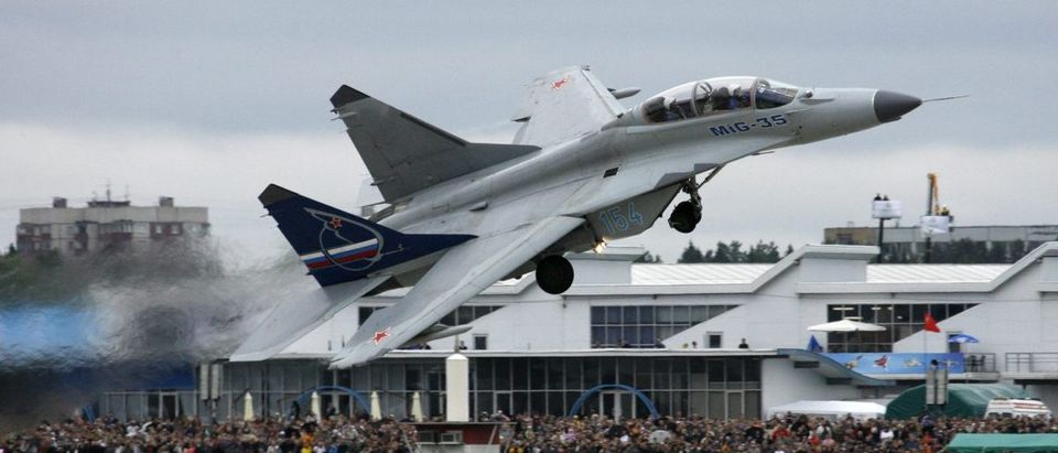 An SU-35 military jet performs during the MAKS-2009 international air show in Zhukovsky outside Moscow