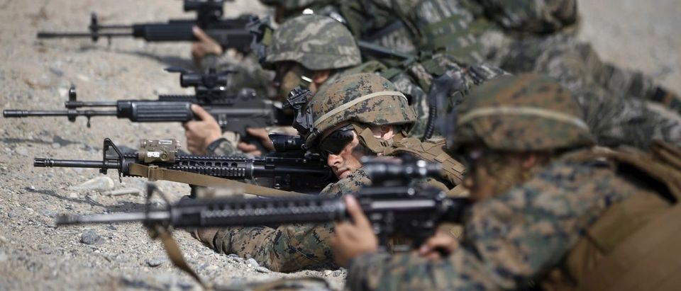U.S. and South Korean marines participate in a U.S.-South Korea joint landing operation drill in Pohang