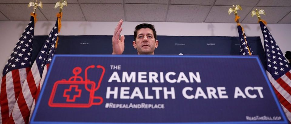 Speaker of the House Paul Ryan speaks to the media about the American Health Care Act at the Capitol