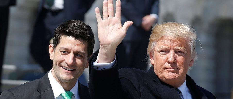 U.S. President Donald Trump waves with Speaker of the House Paul Ryan (REUTERS/Joshua Roberts)