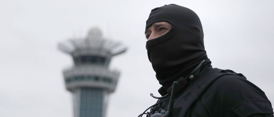 A special forces policeman at Orly airport southern terminal after shooting incident near Paris