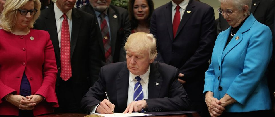 President Trump signs H.J. Res. 37, in the Roosevelt room of the White House in Washington