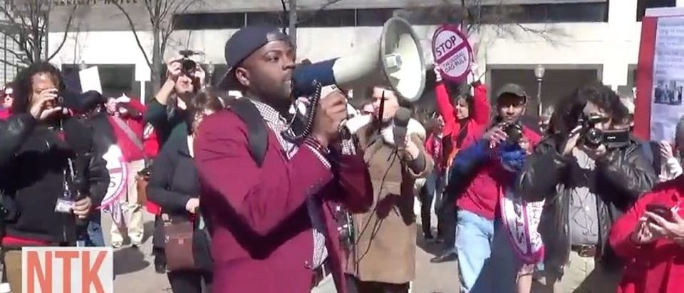 Man leads 'Day Without Women' Protest in DC )YouTube)