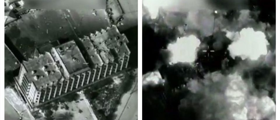 B-52 destroys ISIS controlled building (screenshot)