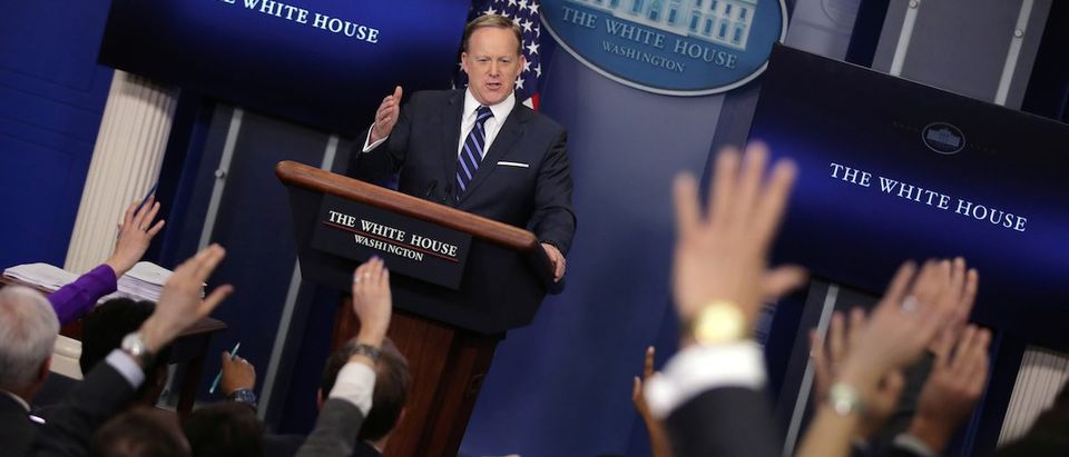 White House Communications Director Sean Spicer holds the daily press briefing at the White House in Washington