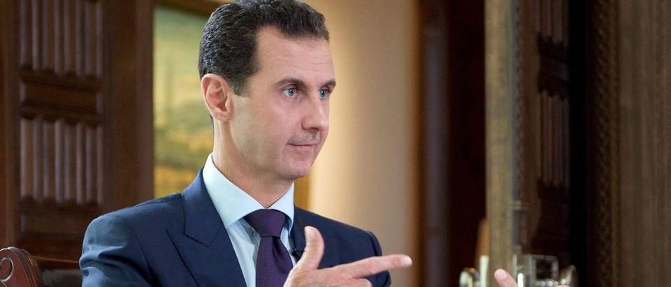 Bashar al-A handout picture released by the official Syrian Arab News Agency (SANA) on October 6, 2016 shows Syrian President Bashar al-Assad speaking during an interview with Denmark's TV2 channel. Sana/AFP/Getty Images.