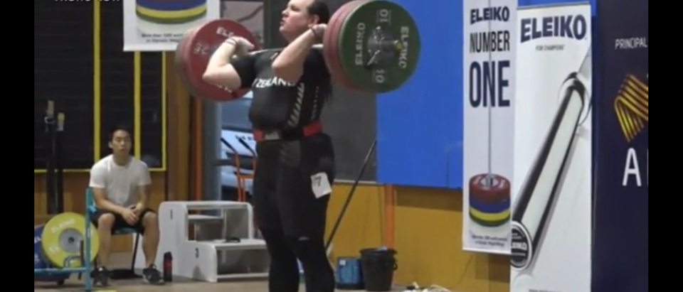 Transgender weightlifter Laurel Hubbard wins weightlifting competition/Screenshot 1NewsNow