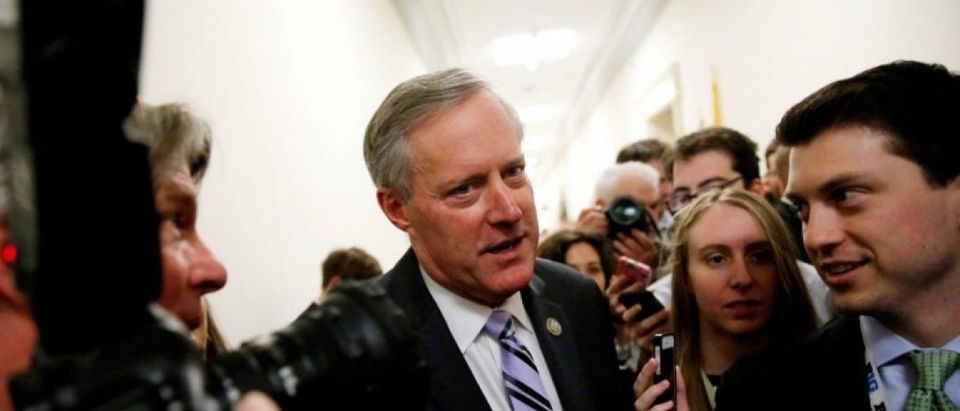 FILE PHOTO: House Freedom Caucus Chairman U.S. Representative Mark Meadows (R-NC) speaks to reporters after meeting with his caucus members about their votes on a potential repeal of Obamacare on Capitol Hill in Washington