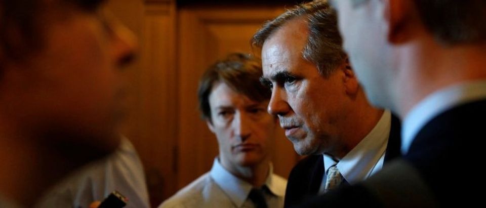 Senator Jeff Merkley (D-OR) speaks to reporters following leaving the Senate floor after delivering a 15 hour speech against Judge Neil Gorsuch on Capitol Hill Washington