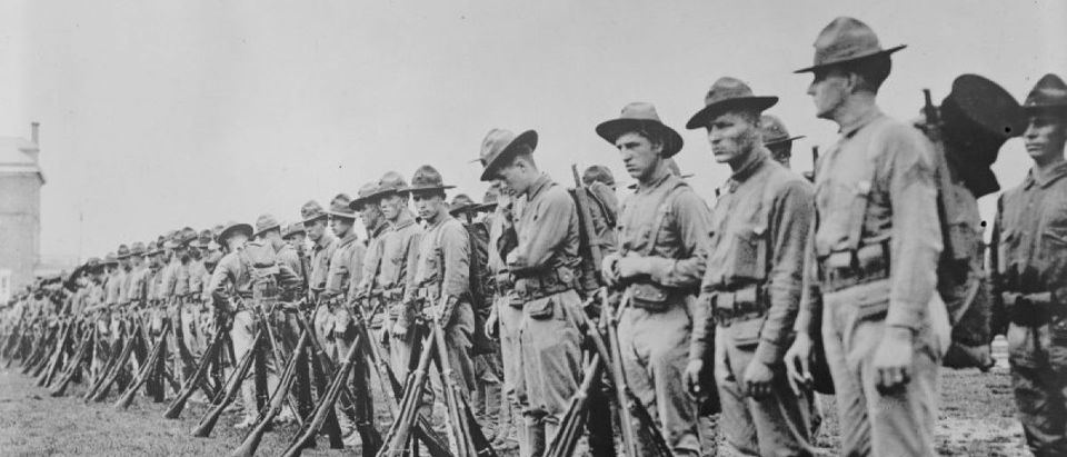 U.S. Marines form a line in France in an undated photo taken during the First World War
