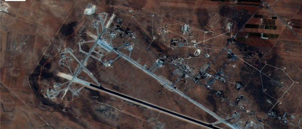 Shayrat Airfield in Homs, Syria is seen in this DigitalGlobe satellite image