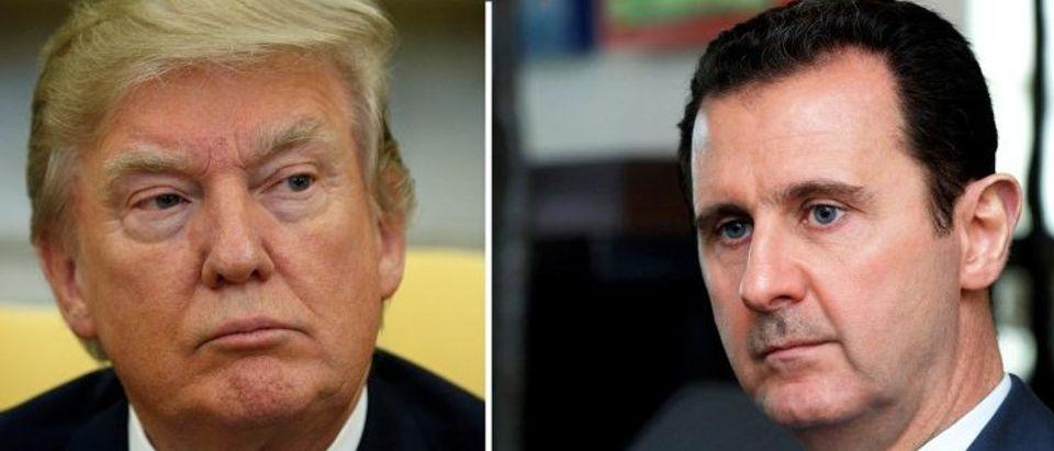 FILE PHOTOS: Combination of file photos of Donald Trump and Bashar al-Assad
