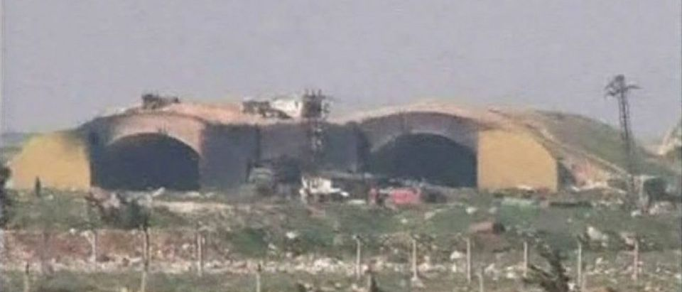 A still image taken from a video broadcast on Syrian state television on April 7, 2017, shows a Syrian army airbase that was hit by U.S. strike near the city of Homs