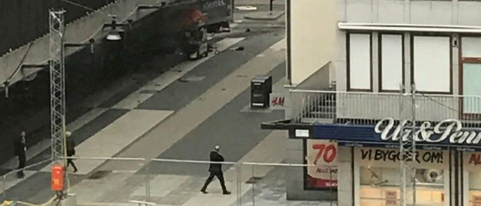 A truck crashed into a department store Ahlens at Drottninggatan in the central of Stockholm, Sweden April 7, 2017. TT News Agency/Andreas Schyman/via REUTERS