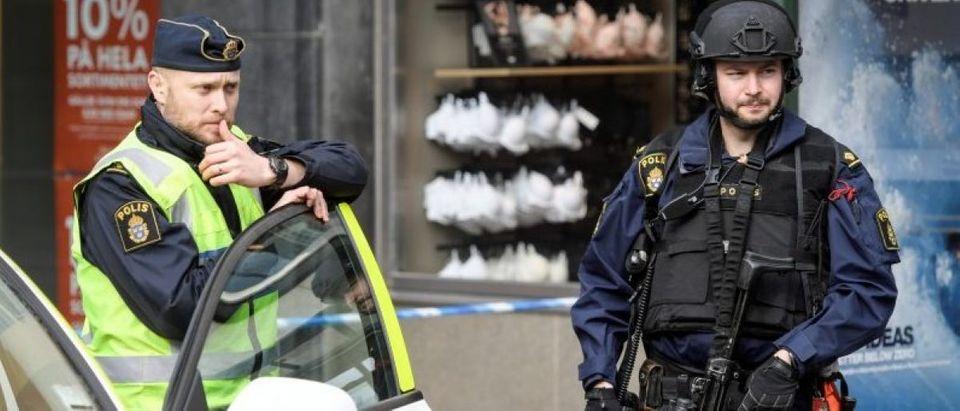 Police in central Stockholm near the crime scene
