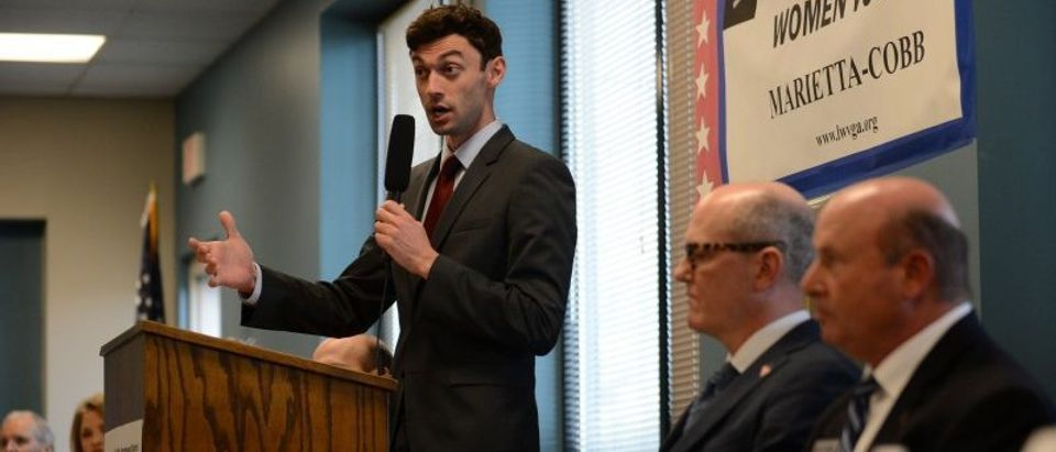 Democratic candidate Jon Ossoff speaks during the League of Women Voters' candidate forum in Marietta