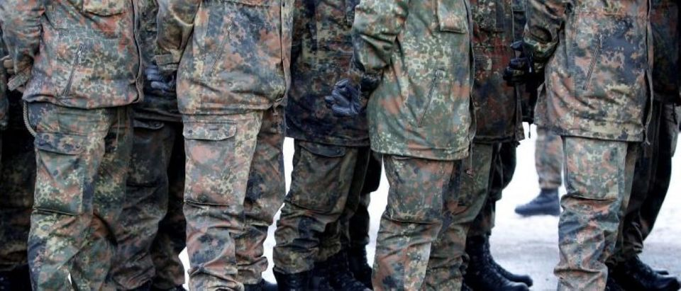 FILE PHOTO: Soldiers of German armed forces Bundeswehr take part in farewell ceremony in Oberviechtach