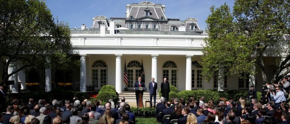 U.S. President Donald Trump speaks before the swearing of Judge Neil Gorsuch as an Associate Supreme Court by Justice Anthony Kennedy in the Rose Garden of the White House in Washington