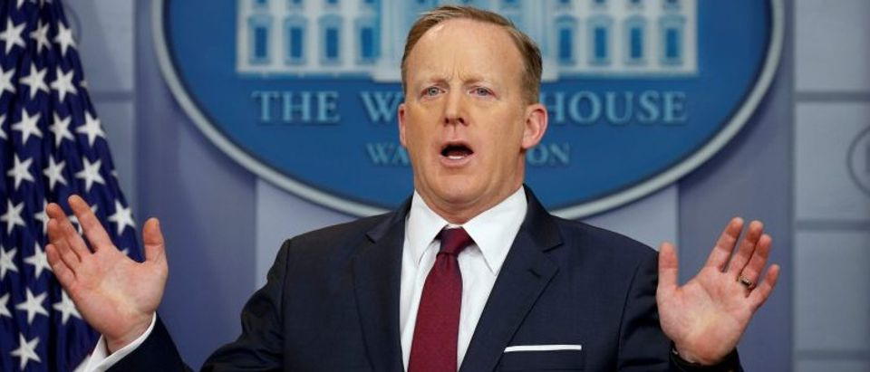 FILE PHOTO: Sean Spicer holds a briefing at the White House in Washington